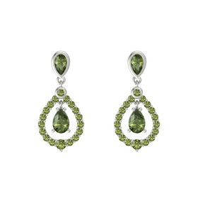 Pear Green Tourmaline 18K White Gold Earring with Green Tourmaline