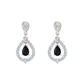 Pear Black Onyx 18K White Gold Earring with White Sapphire and Diamond