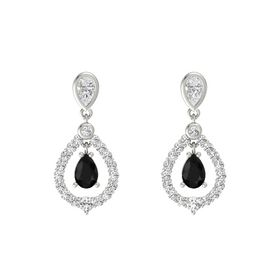 Pear Black Onyx 18K White Gold Earring with White Sapphire