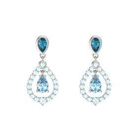 Pear Aquamarine 18K White Gold Earring with London Blue Topaz and Aquamarine
