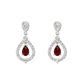 Pear Ruby 18K White Gold Earring with White Sapphire