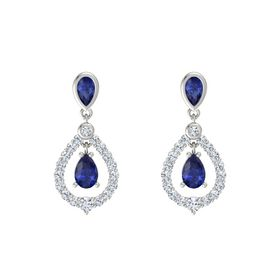 Pear Blue Sapphire 18K White Gold Earring with Blue Sapphire and Diamond