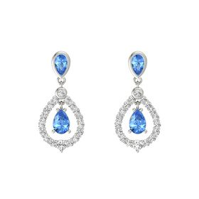 Pear Blue Topaz 18K White Gold Earring with Blue Topaz and White Sapphire