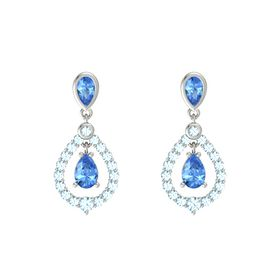 Pear Blue Topaz 18K White Gold Earring with Blue Topaz and Aquamarine