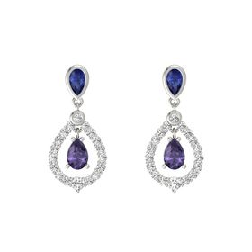 Pear Iolite 18K White Gold Earring with Blue Sapphire and White Sapphire