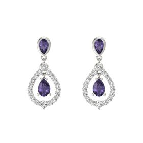 Pear Iolite 18K White Gold Earrings with Iolite & White Sapphire