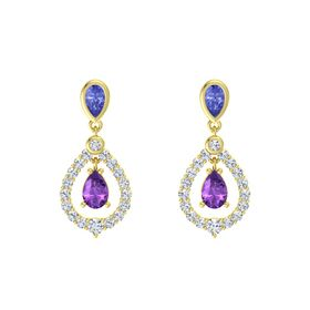 Pear Amethyst 18K Yellow Gold Earring with Tanzanite and Diamond
