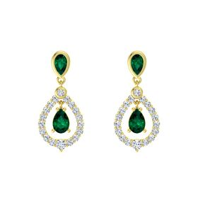 Pear Emerald 18K Yellow Gold Earring with Emerald and Diamond