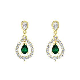 Pear Emerald 18K Yellow Gold Earring with White Sapphire and Diamond