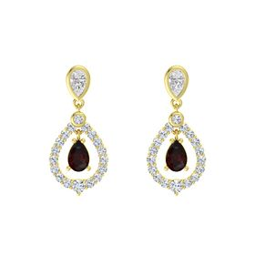 Pear Red Garnet 18K Yellow Gold Earrings with White Sapphire & Diamond