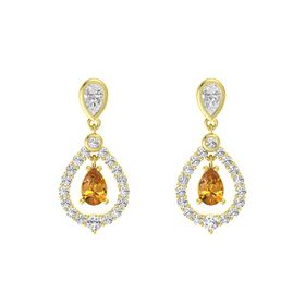 Pear Citrine 18K Yellow Gold Earring with White Sapphire