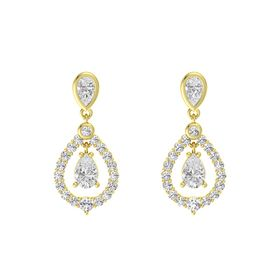 Pear White Sapphire 18K Yellow Gold Earring with White Sapphire