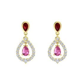 Pear Pink Sapphire 18K Yellow Gold Earring with Ruby and Diamond