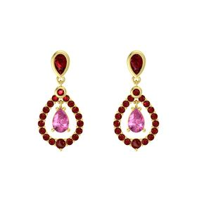Pear Pink Sapphire 18K Yellow Gold Earrings with Ruby