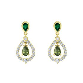 Pear Green Tourmaline 18K Yellow Gold Earring with Emerald and Diamond