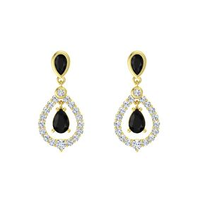 Pear Black Onyx 18K Yellow Gold Earrings with Black Onyx & Diamond