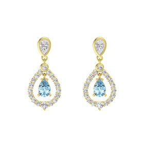 Pear Aquamarine 18K Yellow Gold Earring with White Sapphire