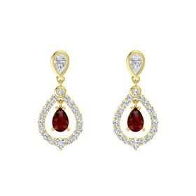Pear Ruby 18K Yellow Gold Earring with White Sapphire and Diamond