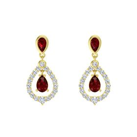 Pear Ruby 18K Yellow Gold Earrings with Ruby & Diamond