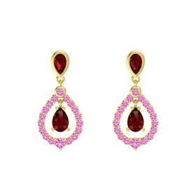 Pear Ruby 18K Yellow Gold Earring with Ruby and Pink Sapphire