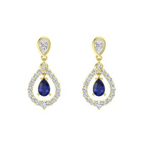 Pear Blue Sapphire 18K Yellow Gold Earring with White Sapphire and Diamond