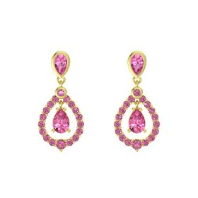 Pear Pink Tourmaline 18K Yellow Gold Earrings with Pink Tourmaline