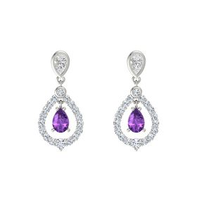 Pear Amethyst Platinum Earring with White Sapphire and Diamond