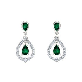 Pear Emerald Platinum Earrings with Emerald & Diamond