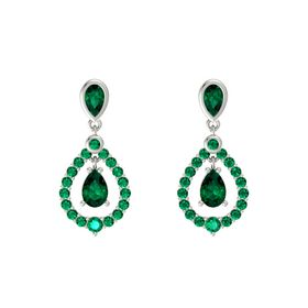 Pear Emerald Platinum Earrings with Emerald