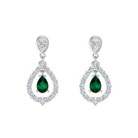Pear Emerald Platinum Earring with White Sapphire and Diamond