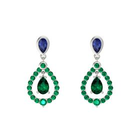 Pear Emerald Platinum Earrings with Sapphire & Emerald