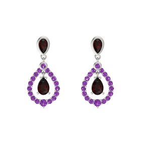 Pear Red Garnet Platinum Earring with Red Garnet and Amethyst