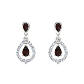 Pear Red Garnet Platinum Earring with Red Garnet and Diamond