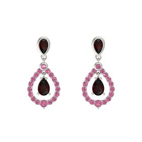 Pear Red Garnet Platinum Earring with Red Garnet and Pink Tourmaline