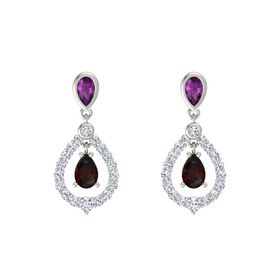 Pear Red Garnet Platinum Earring with Rhodolite Garnet and Diamond