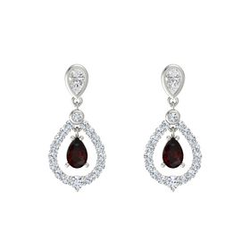Pear Red Garnet Platinum Earring with White Sapphire and Diamond