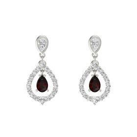 Pear Red Garnet Platinum Earring with White Sapphire