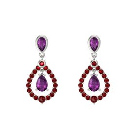 Pear Rhodolite Garnet Platinum Earrings with Rhodolite Garnet & Ruby