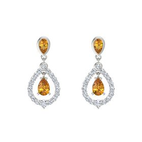Pear Citrine Platinum Earring with Citrine and Diamond