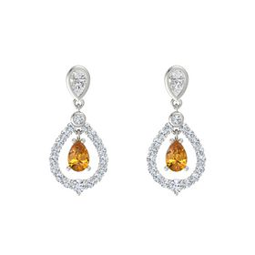 Pear Citrine Platinum Earring with White Sapphire and Diamond