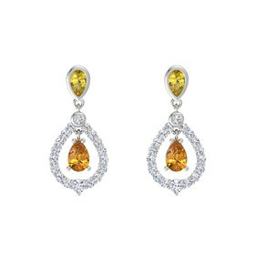 Pear Citrine Platinum Earring with Yellow Sapphire and Diamond