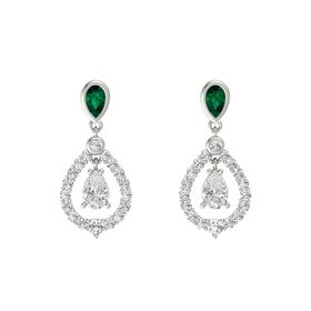 Pear White Sapphire Platinum Earrings with Emerald & White Sapphire