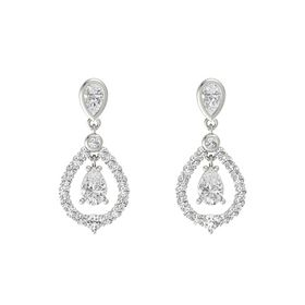 Pear White Sapphire Platinum Earring with White Sapphire