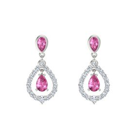 Pear Pink Sapphire Platinum Earrings with Pink Sapphire & Diamond