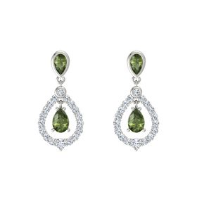 Pear Green Tourmaline Platinum Earrings with Green Tourmaline & Diamond