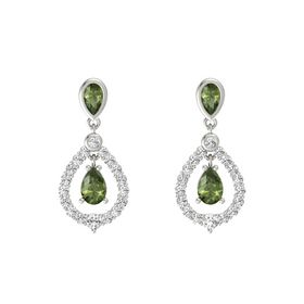 Pear Green Tourmaline Platinum Earrings with Green Tourmaline & White Sapphire