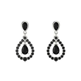 Pear Black Onyx Platinum Earring with Black Onyx and Black Diamond