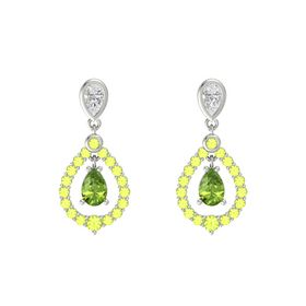 Pear Peridot Platinum Earring with White Sapphire and Peridot
