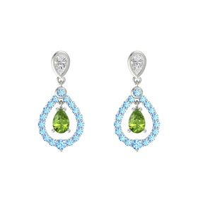 Pear Peridot Platinum Earring with White Sapphire and Blue Topaz
