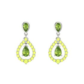 Pear Peridot Platinum Earring with Peridot